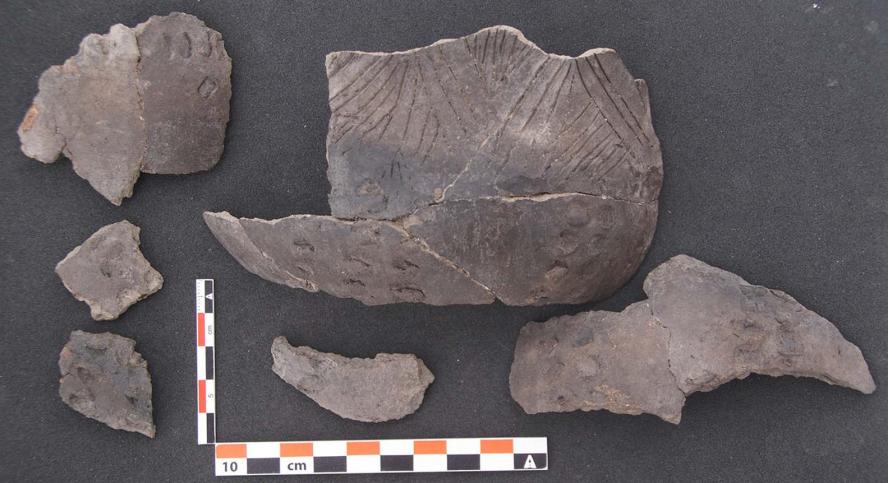 Fragmentos de cerámica de San Pedro, encontrados em 2017