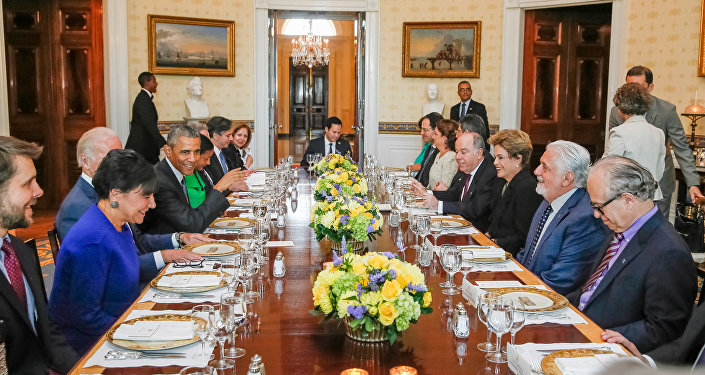 Presidenta Dilma Rousseff durante jantar oferecido pelo Presidente dos Estados Unidos da América, Barack Obama
