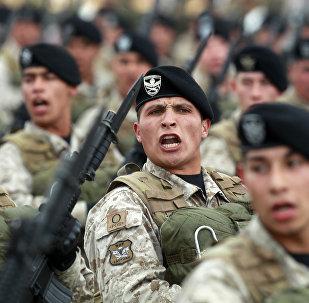 Exército chileno durante parada militar em Santiago em 19 de setembro de 2015