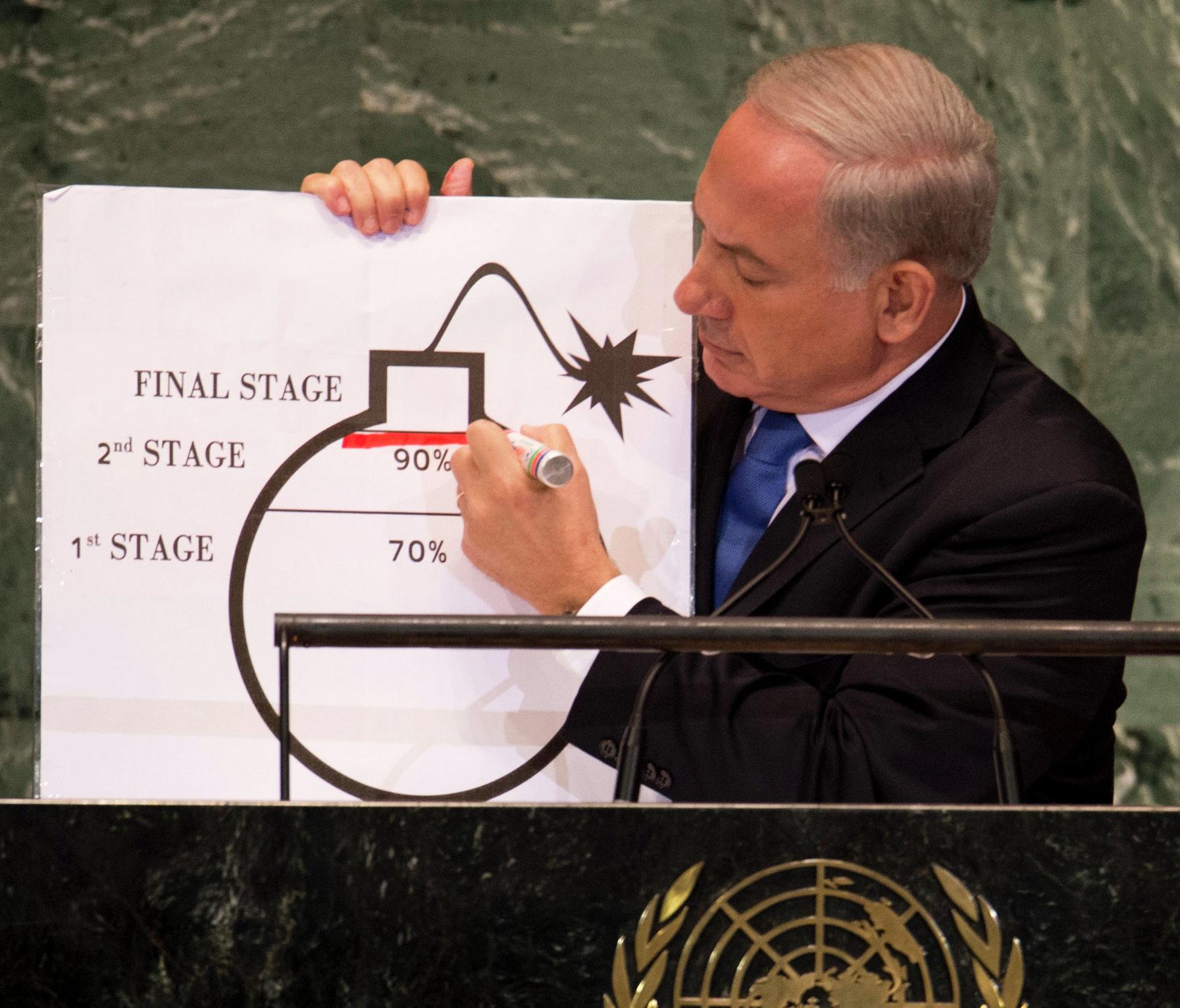 Primeiro-ministro de Israel, Benjamin Netanyahu, fala sobre o programa nuclear iraniano na ONU
