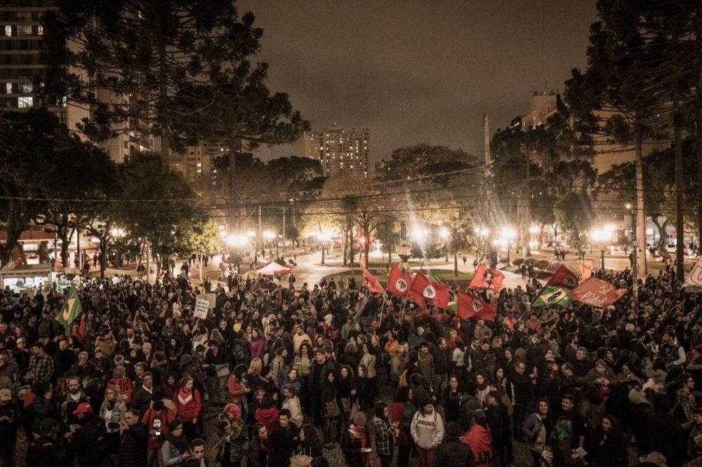 Ato em Curitiba como parte das mobilizações de 13 de agosto contra o governo de Jair Bolsonaro