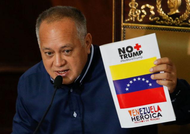 Presidente da Assembleia Constituinte da Venezuela, Diosdado Cabello, durante sessão em Caracas