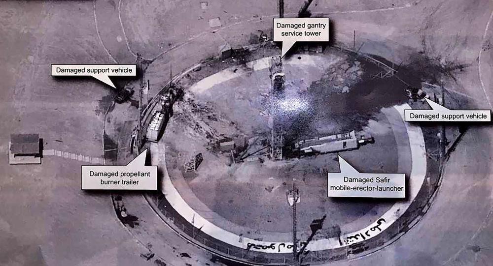 Imagem, tirada da conta no Twitter do presidente norte-americano Donald Trump, mostra suposta explosão no Centro Espacial Imam Khomeini do Irã, na província iraniana de Semnan, 30 de agosto de 2019