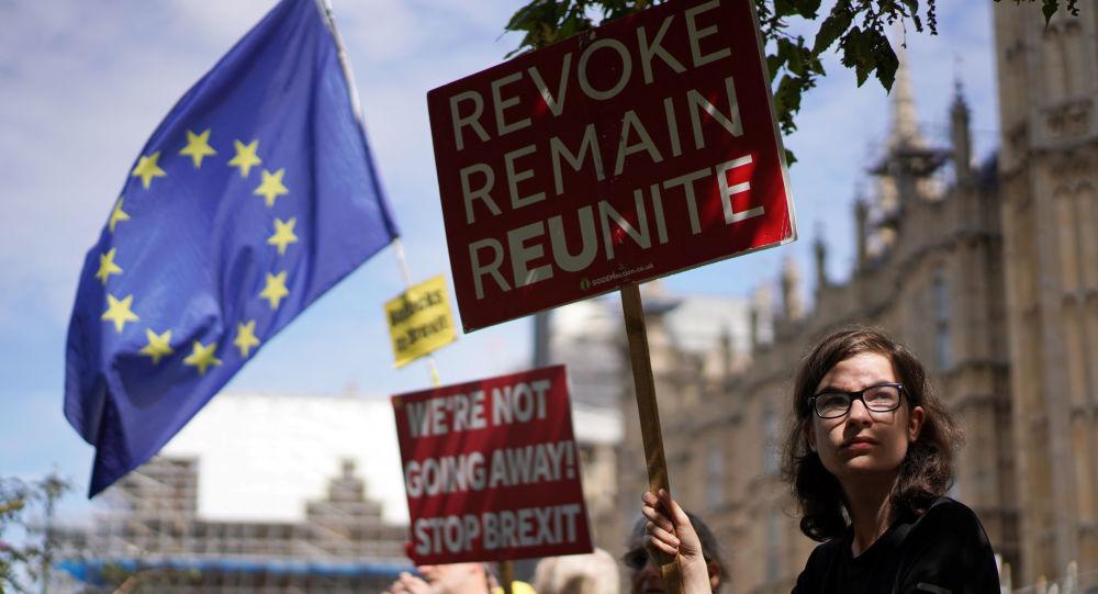 Manifestante contra o Brexit em frente ao parlamento britânico, em Londres