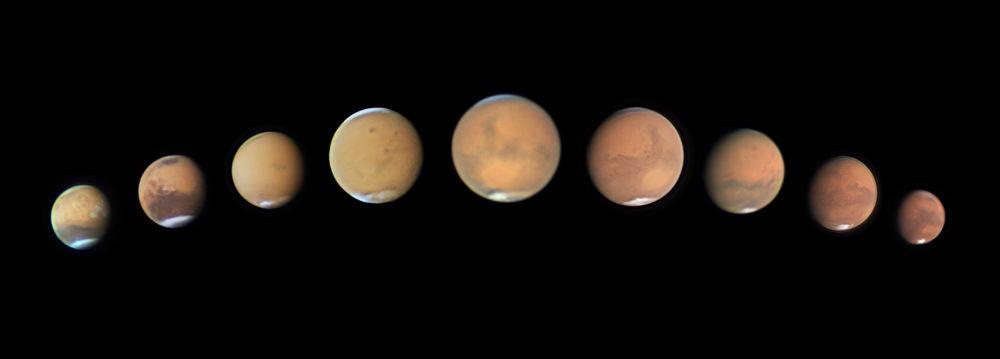 Sequência de imagens de Marte capturada pelo fotógrafo australiano Andy Casely, que participou na competição Insight Investment Astronomy Photographer of the Year 2019