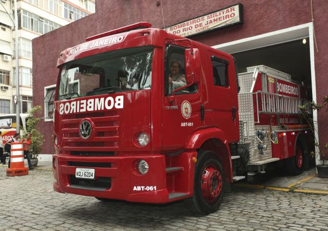Caminhão do Corpo de Bombeiros, no bairro do Catete, Rio de Janeiro (arquivo)