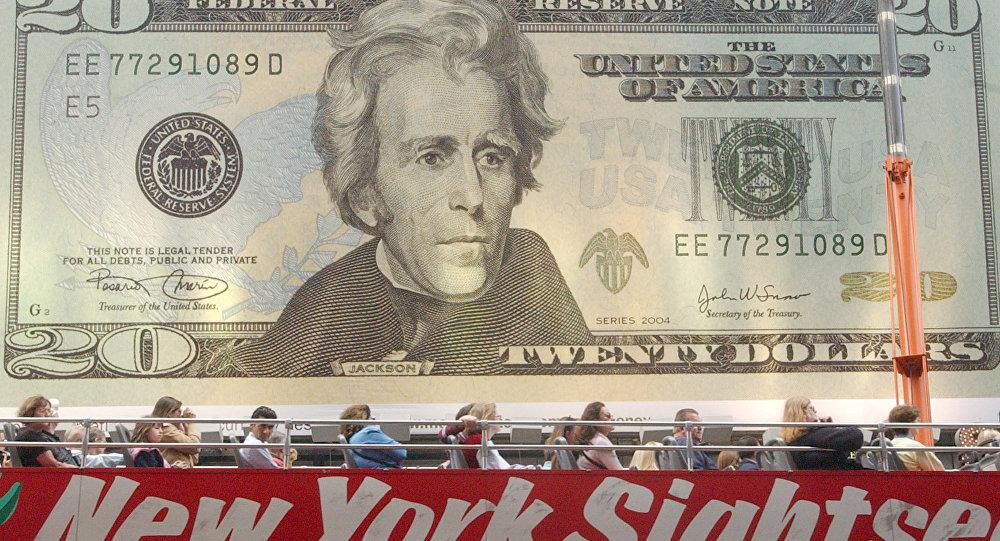 Outdoor exibindo nota de vinte dólares, 9 de outubro de 2003