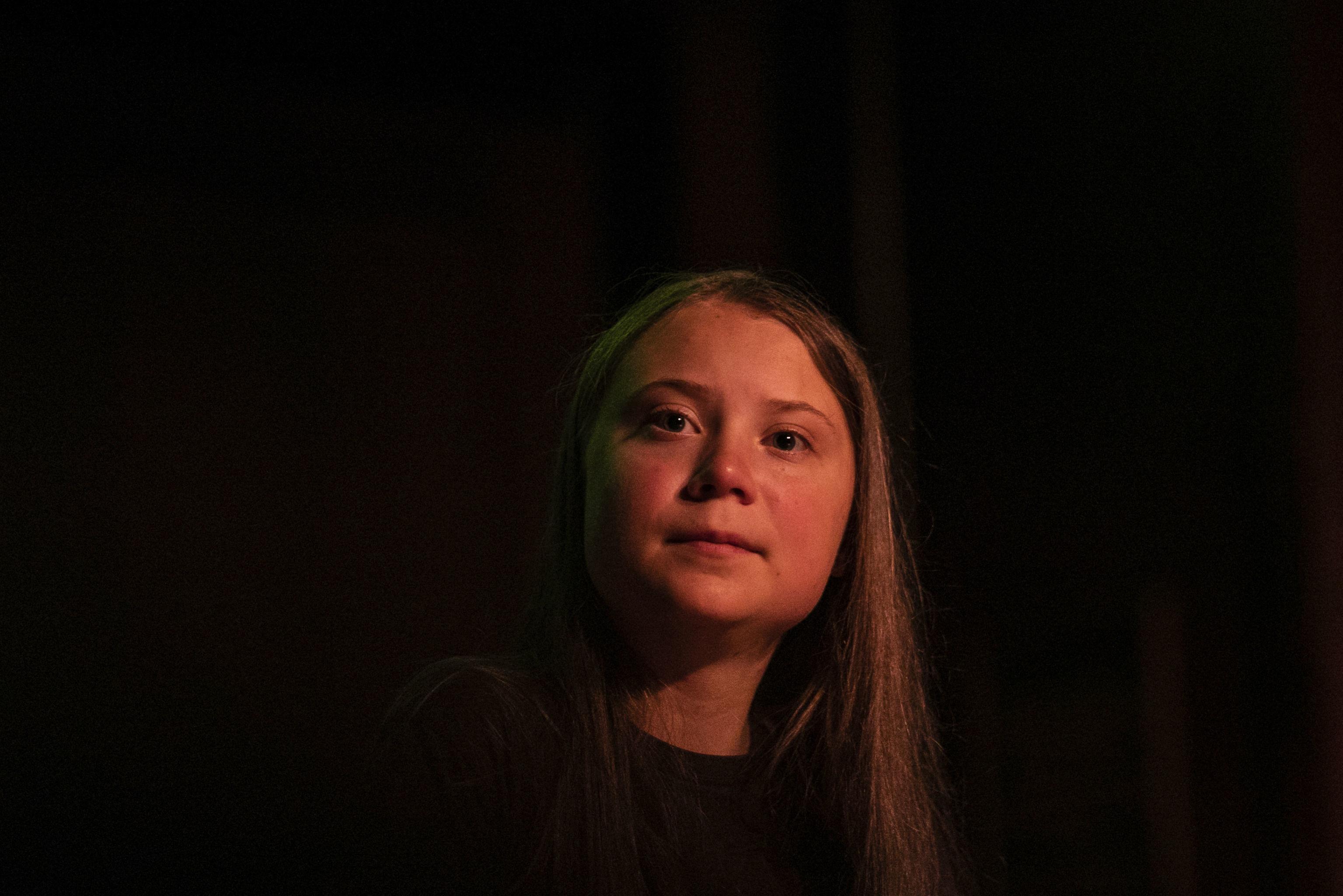 Greta Thunberg faz uma pausa durante discurso na Society for Ethical Culture, Nova York, 9 de setembro de 2019