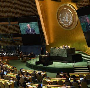 Ministro das Relações Exteriores da Rússia, Sergei Lavrov, discursa na sede da ONU