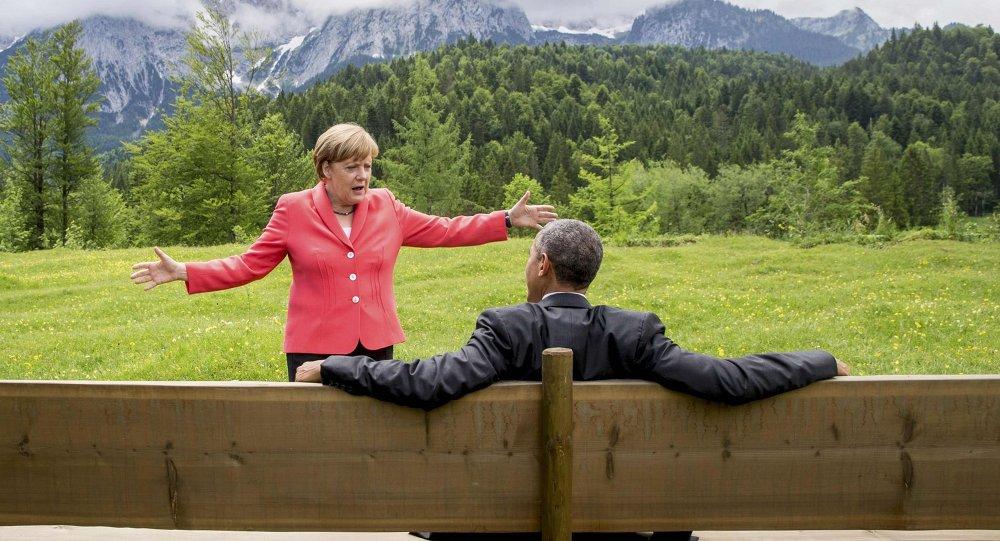 A chanceler alemã, Angela Merkel, durante encontro com o presidente dos EUA, Barack Obama