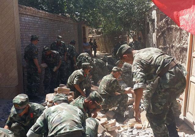 Terremoto em Xinjiang, na China.
