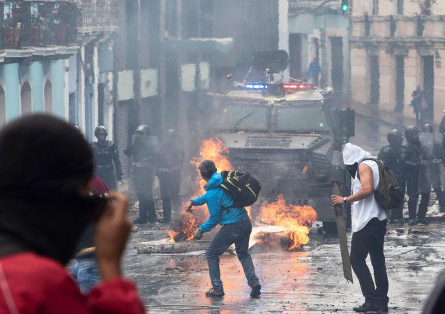 Protestos em Equador contra reformas de Lenín Moreno, 3 de outubro de 2019