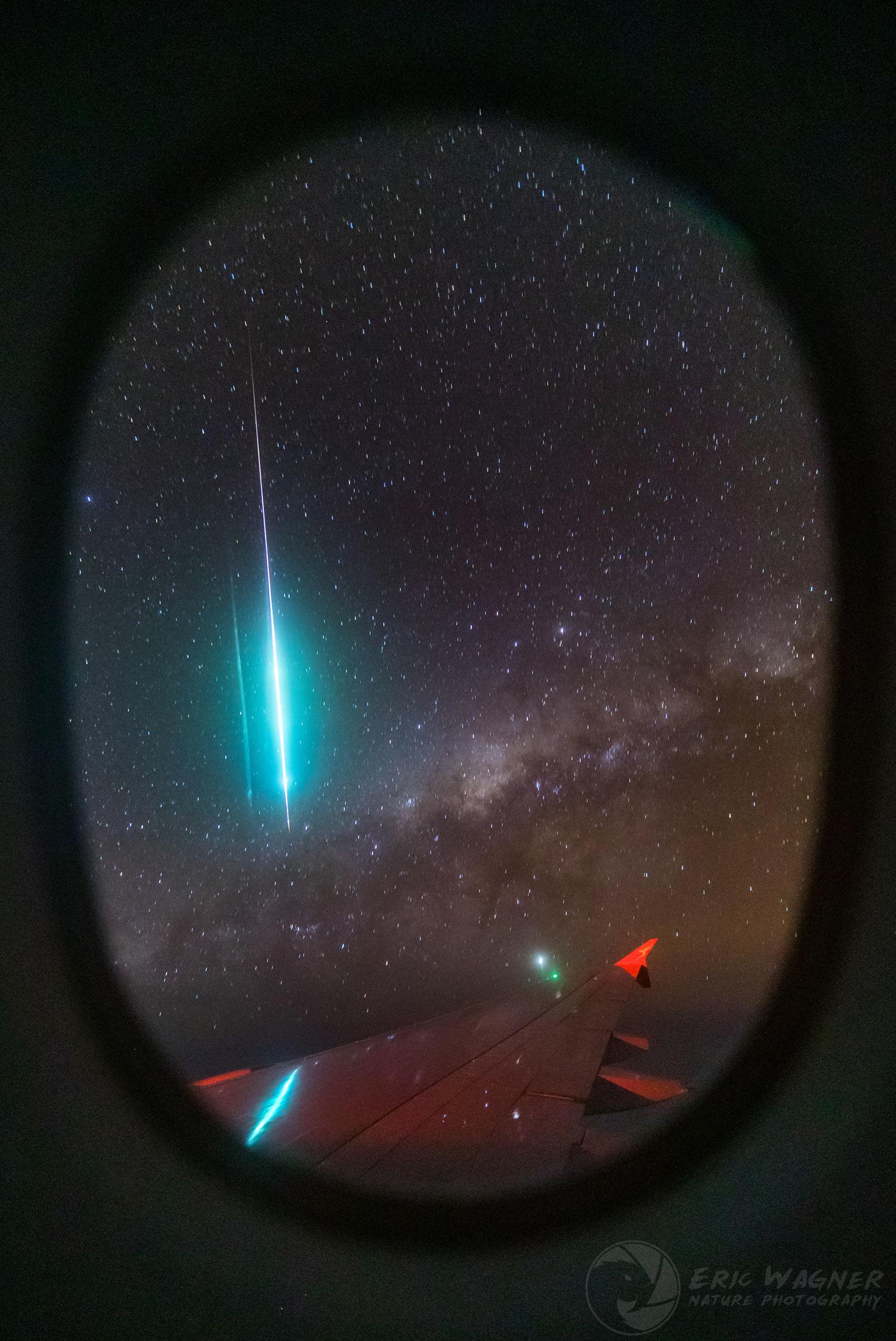 Meteoro visto da janela de avião