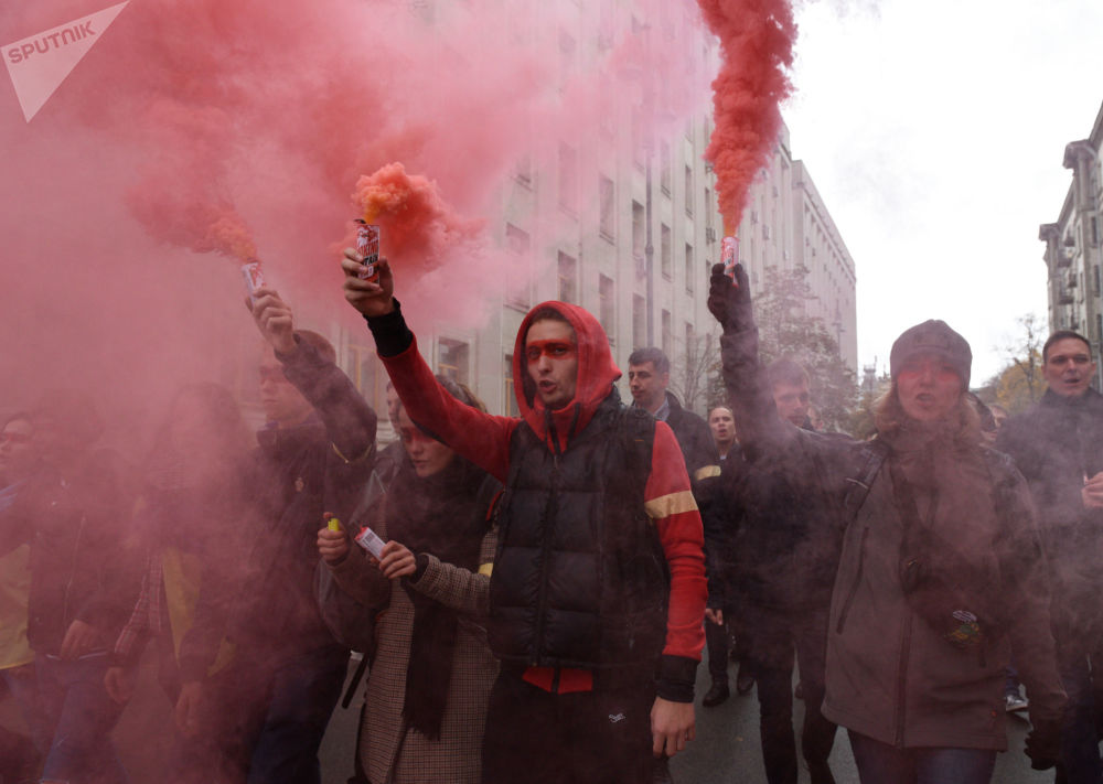 Protestos na Ucrânia contra fórmula Steinmeier relacionada a eleições nas repúblicas populares de Donetsk e Lugansk