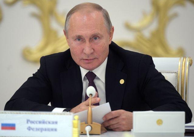 Presidente russo Vladimir Putin em reunião da Comunidade de Estados Independentes nesta sexta-feira, 11 de outubro de 2019