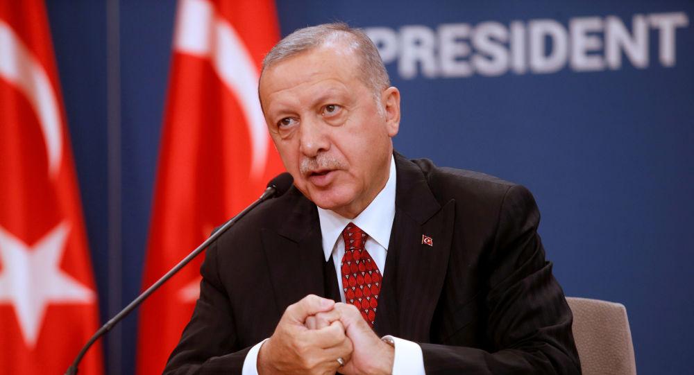 Presidente da Turquia, Recep Tayyip Erdogan, durante conferência de imprensa, após reunião em Belgrado, Sérvia, em 7 de outubro de 2019