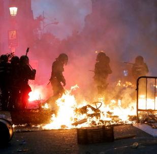 Aumenta a tensão nos protestos em Barcelona em 18 de outubro de 2019.