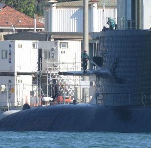 Submarino da classe Soryu Hakuryu é visto atracado na base naval de Sydney, Austrália, em 15 de abril de 2016