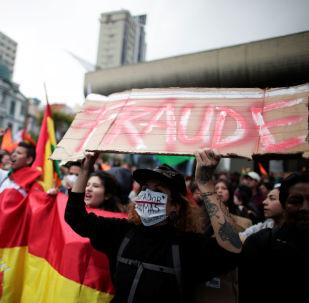 Manifestantes protestam contra o que consideram fraude nas eleições da Bolívia.