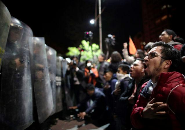 Protestos em La Paz após as eleições na Bolívia, em 21 de outubro de 2019