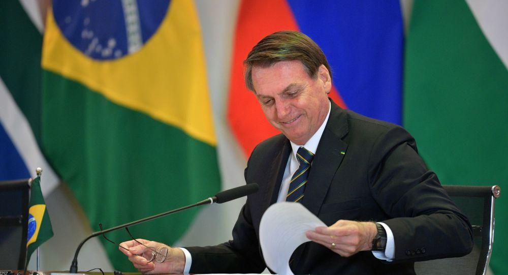 Bolsonaro durante 11ª Cúpula de Chefes de Estado do BRICS, celebrada entre os dias 13 e 14 de novembro de 2019