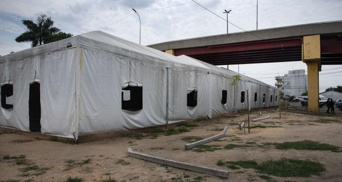 Barraca que abriga venezuelanos em centro de acolhida.