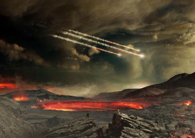 Imagem ilustrativa de meteoros que impactaram na antiga Terra