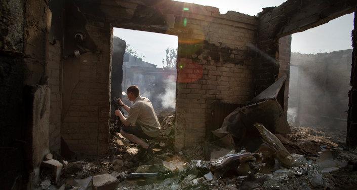 Vila de Semyonovka, na Ucrânia destruída após ataque