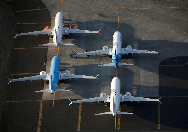 Uma foto aérea mostrando a aeronave Boeing 737 MAX nas instalações da Boeing no Aeroporto Internacional Grant County, estado de Washington, EUA