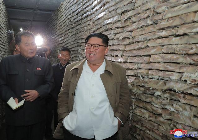 Líder Kim Jong-un durante visita a uma instalação do processamento de peixe na Coreia do Norte