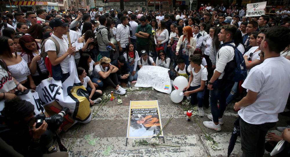 Manifestação em apoio ao estudante Dilan Cruz, morto pela repressão na Colômbia.