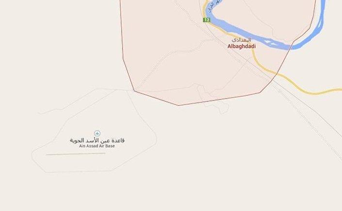 A província de Al-Anbar e a base aérea norte-americana de Ain al-Assad (Iraque).