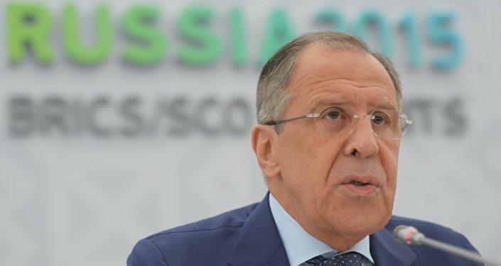 Briefing do ministro das Relações Exteriores da Rússia, Sergei Lavrov, no âmbito da cúpula dos BRICS em Ufá