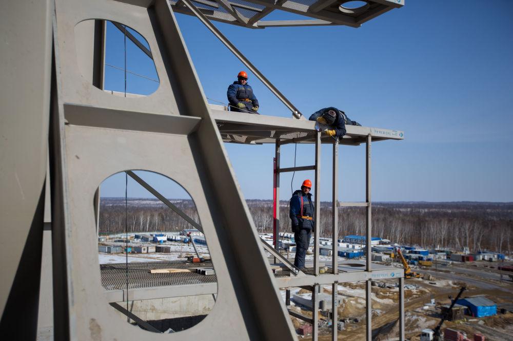 A construção do cosmódromo Vostochny na região de Amur na Rússia.
