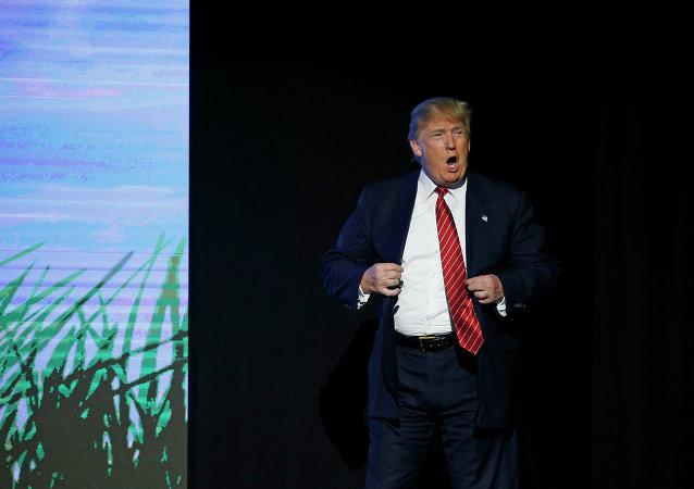 Presidenciável republicano Donald Trump apresentando-se na Freedom Fest no sábado (11 de julho de 2015) em Las Vegas.