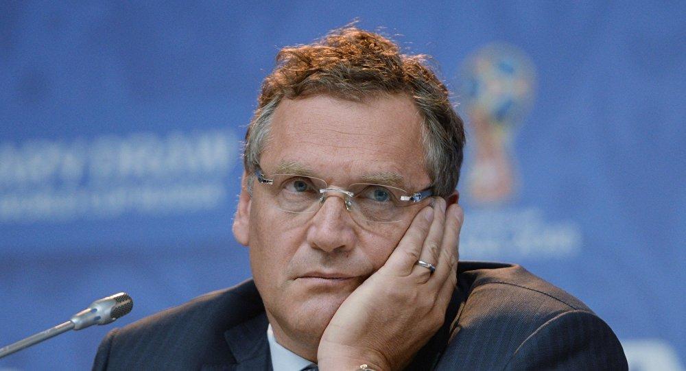 Jeróme Valcke, secretário-geral da FIFA, em São Petersburgo, na véspera do sorteio das eliminatórias para a Copa do Mundo de 2018.
