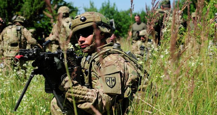 Ensaios militares conjuntos dos militares dos EUA e Ucrânia Rapid Trident