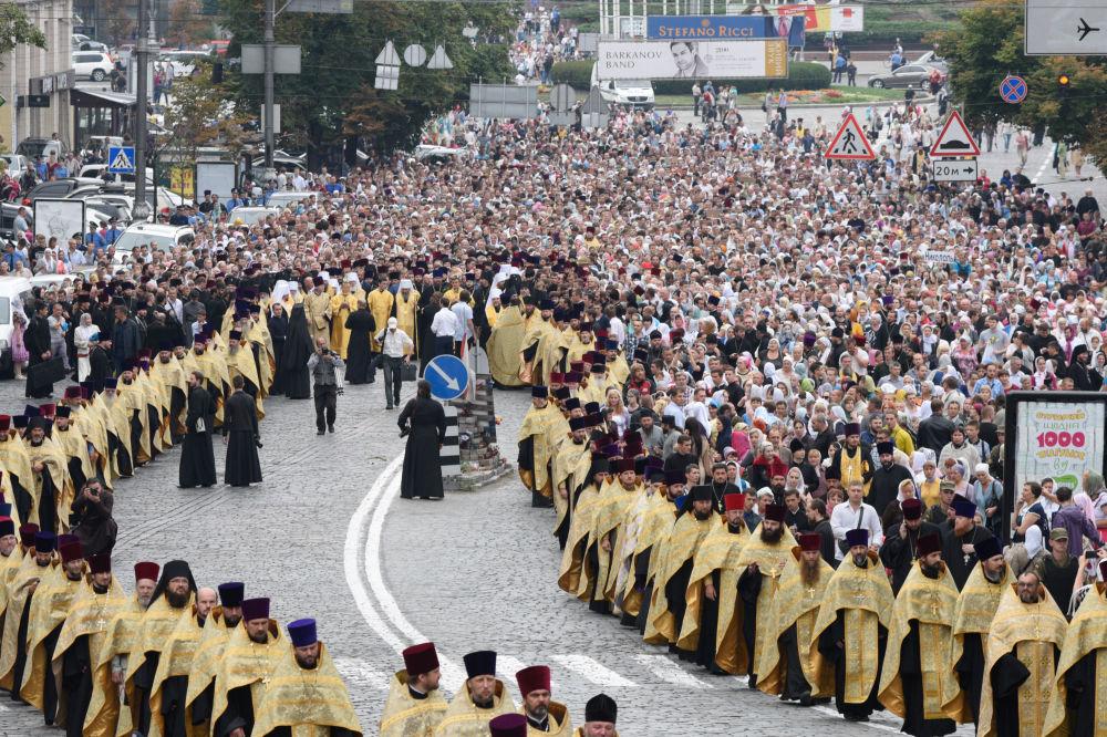 Procissão comemorando o aniversário de de batismo da Rússia Kievana