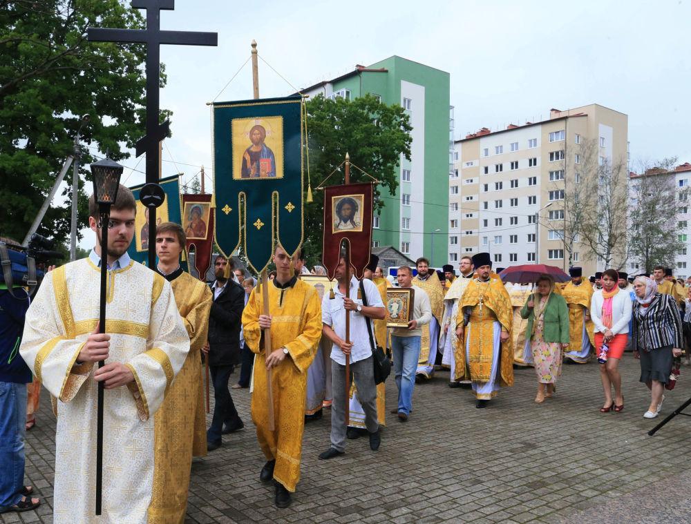 Procissão religiosa pela ocasião de 1000 anos da morte do príncipe Vladimir I, na cidade de Chkalovsk