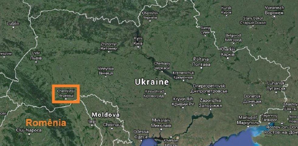 Chernivtsi, em destaque no mapa