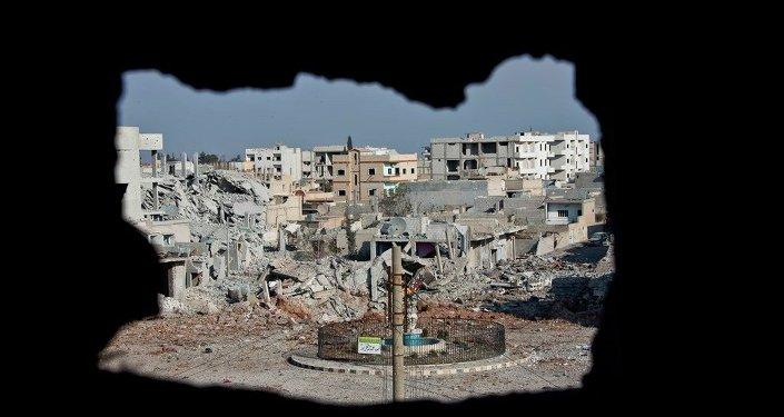 Área controlada pelo Estado Islâmico em Kobane, na Síria