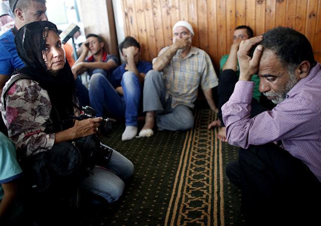 Funeral de Ali Saad Dawabsha, bebê palestino de um ano e meio morto em incêndio provocado por extremistas judeus na Cisjordânia