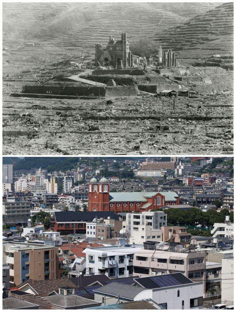 A combinação de fotos que mostra a Catedral de Urakami que foi destruida pelo bombardeio atômico de Nagasaki em 9 de agosto de 1945.