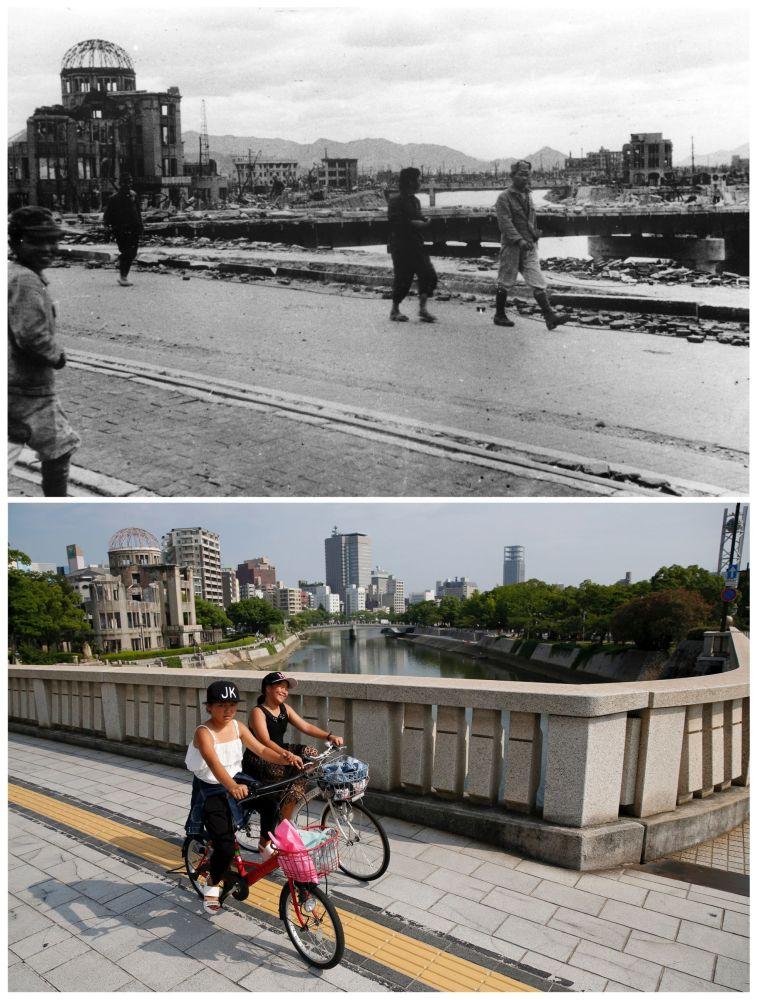 A Cúpula de Genbaku chamada hoje a Cúpula da Bomba Atômica. As pessoas passeando pela ponte Aioi em Hiroshima.