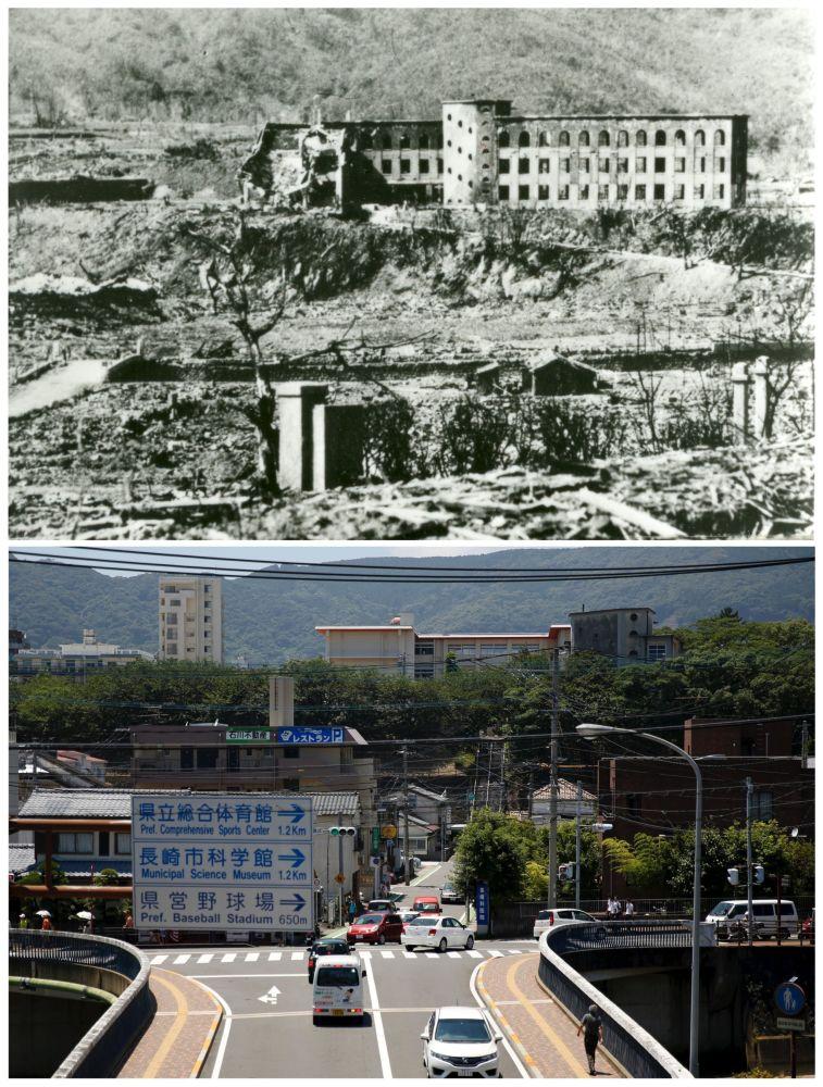A escola nacional de Shiroyama, destruida depois do bombardeio atômico de Nagasaki em 9 de agosto de 1945 e o mesmo edifício hoje em dia (de baixo).