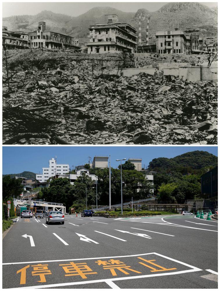 A Universidade Médica depois do bombardeio atômico de Nagasaki em 9 de agosto de 1945 e hoje em dia.