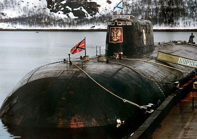 Submarino Kursk fica na base militar em Vidyayevo (foto de arquivo)