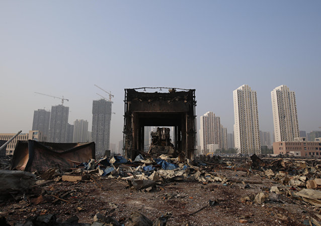 A zona do sinistro em Tianjin