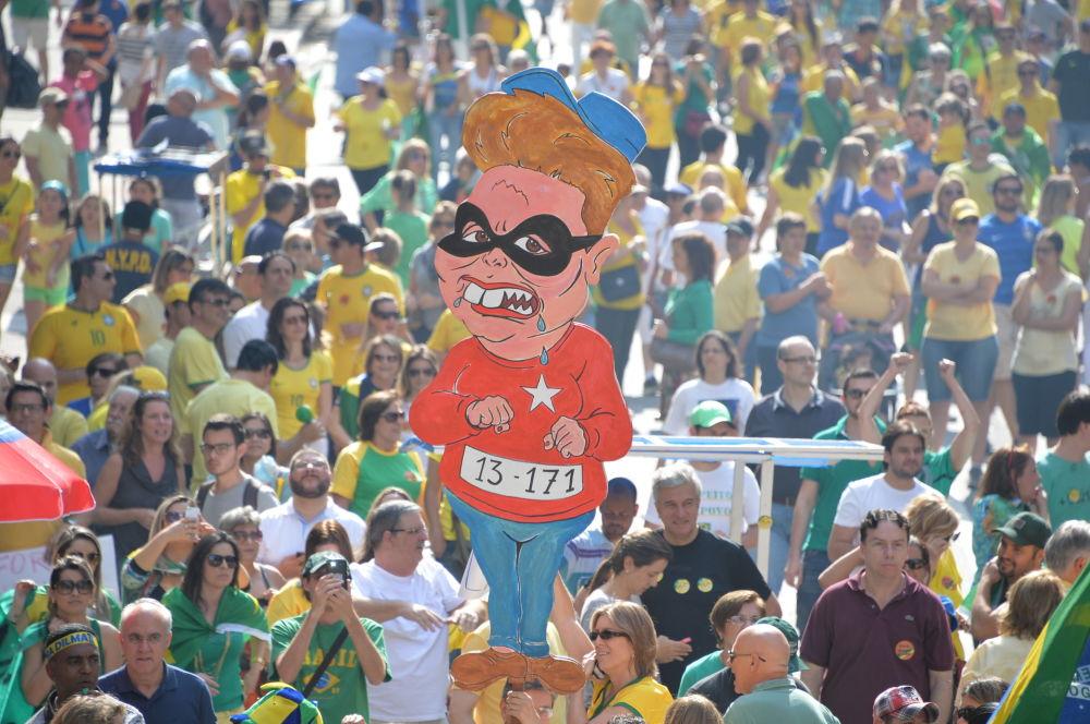 Uma charge da Dilma Rousseff durante os protestos no Brasil