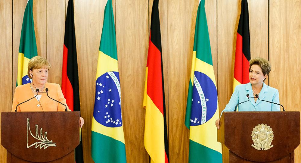 Presidenta Dilma Rousseff e a Chanceler da República Federal da Alemanha, Angela Merkel, em Brasília